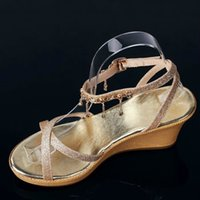 Wholesale Types Heels Sandals - 5pcs Hot sale women's shoes display stand women's high heels sandal holder acrylic bending shoes display rack clothing display props