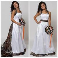 Wholesale wedding dresses online for sale - Group buy Halter Camo A Line Wedding Dresses With Detachable Chapel Train Long Formal Bridal Gowns Custom Made Online Vestidos De Novia Spring