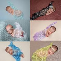 baby stütze garn großhandel-Neugeborenes Baby Rose Blume Foto Requisiten Infant Fotografie Requisiten Foto Wrap Tuch Spitze Stretch Garn Decke Zubehör 140 * 35 cm