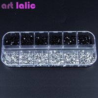3000pcs 2mm Rhinestones Nail Decoration Round Black Clear Glitters с жестким футляром DIY Nail Art Decorations