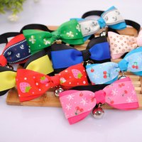 Wholesale Neck Ornament - Pet Dog Neck Tie Cat Dogs Bow Ties Bells Headdress Adjustable Dog Collars Leashes Apparel Christmas Decorations Ornaments IB238