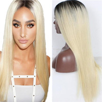 Wholesale 1b 613 front wig online - Hot Sale B Silky Straight Russian Blonde Ombre Hair Glueless Blonde Lace Front Wig
