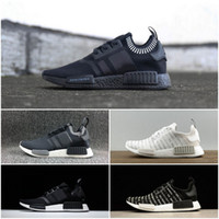 Wholesale Japanese Cotton Shoes - Newest NMD R1 Japanese Pack Triple White Triple Black Boost Mastermind Japan MMJ Primeknit Running Shoes With Box