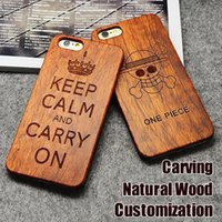 Wholesale Carved Cases - Engraving Wood Phone Case For iPhone 7 Cover Carved Wooden Bamboo For iphone 6s 6 7 Plus Samsung S8 Plus S7 edge Customized