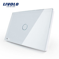LS- Smart Home Touch Switch, Livolo Painel de vidro de cristal branco, AC110 ~ 250V, indicador LED, US Light Touch Screen Switch VL-C301-81