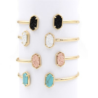 Wholesale Druzy Bracelets - Gold Metal Kendra Bangle Oval Resin Druzy Bracelets Bangles for Women Jewelry Display