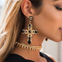 Wholesale Large Gold Stud Earrings - New Arrival Vintage Black Crystal Cross Drop Earrings for Women Baroque Bohemian Large Long Earrings Jewelry Brinco 2017