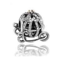 Two Tone Crown Cinderella Calabresa Charms Beads 925 Sterling-Silver-Jewelry Pave CZ Bead DIY Brand Bracelet Acessórios