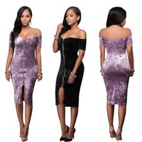 Wholesale Polyester Pile - Hot Selling Wholesale Hot style sexy Open fork drilling pile zipper word brought bandage dress skirt Night dress
