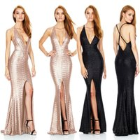 Wholesale Plus Size Ballgowns - New Beaded Dresses Evening Wear sexy Sequin Split Side Halter A-line Sleeveless Backless Prom Cocktail Party Dresses BallGown Freeshipping