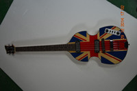 Wholesale electric guitar decals - Wholesale- bb2 bass guitar Hofner electric bass guitar U.K flag decal on body top Flamed maple back high quality