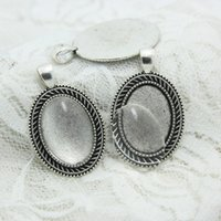 Wholesale Silver Ring Blank Cameo - 10 set Antique Silver Alloy Cameo 27*42mm(Fit 18*25mm dia) Oval Pendant Blanks Setting Cabochon + Clear Glass Cabochons D0704