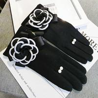 Wholesale fingerless gloves winter for sale - Group buy lovs Winter Women Gloves For Touch Screen Cashmere Mittens Female Big Flower Warm Wool Gloves Women Driving Gloves
