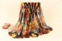 Wholesale Long Voile Scarves - New Arrival Women Scarf Voile Material 180X90CM Long Beach Autumn Warm Scarves Bright Floral Printed Shawls and Wraps SS-018