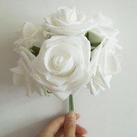 Wholesale Artificial Rose Bunches - Wholesale New 72pcs 12 Bouquets 7cm Artificial Wedding Decoration Foam Rose Bouquet Flowers 6 Stems Bunch