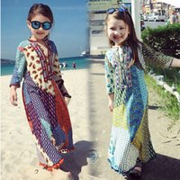Wholesale Bohemia Silk Dress - Mother and daughter dress Girls cotton silk printed princess long dress bohemia style womens beach vacation dress 2017 Family clothes T1292