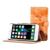 Wholesale Magnetic World - Retro World Map Pattern Wallet Case For iPhone 7 6s Samsung S7 S6 S5 Note5 Wallet Case with Stand Card Holder Magnetic Closing