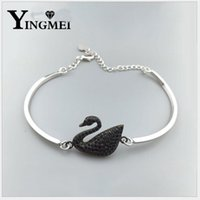 Wholesale Gold Swans - Yingmei fashionable European and American brands white black swan bracelet female size adjustable hand ring hand accessories wholesale