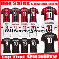 Wholesale Kaka Milan - 2017 2018 CALHANOGLU Top Thai quality 17 18 AC Milan Home red black soccer jersey ANDRE SILVA BACCA KAKA SUSO BONUCCI away football shirts