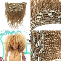 12 613 haarverlängerungen großhandel-Klipp in der europäischen Blondine # 613 afro-verworrenes gelocktes Remy-Haar 100% Menschenhaar-Erweiterungen 7Pcs / Set 120G FDSHINE