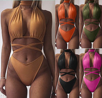 Wholesale Neck Hanged Females - Brand new Explosive sexy straps hanging neck two pieces of swimsuit bikini female NS042