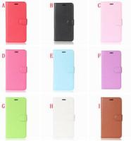 funda alcatel billetera al por mayor-Funda de cuero con billetera de colores para OPPO R17 Pro Alcatel 1 Huawei Mate 20 Samsung Galaxy J2 Core Litchi Tarjeta Leechee Stand piel cubierta 50pcs