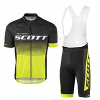 Wholesale Scott Cycling Bib Sets - 2017 Scott Cycling jerseys bike clothes Bicycle Clothing Set Men Short sleeve shirt Bib Shorts suit mtb bike clothing sport jersey D1001