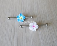 Wholesale 2pcs Blue and white flowers charm with turquoise stones Industrial Scaffold barbell gauge stainless steel body jewelry