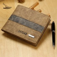New Men Stylish couro sintético patchwork dobrado Casual Business Short Wallet Purse 25