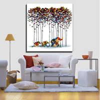 Wholesale Elephant Painting Tree - Chinese Canvas painting Wall art Poster A herd of elephants walked under a tree pictures for abstract painting Wholesale Wall decoration