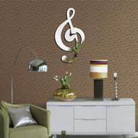 Wholesale Plastic Music Notes - Music Note Frameless Wall Clock Removable DIY Acrylic 3D Mirror Wall Decal Sticker World Time Clocks Quartz Clock Movement