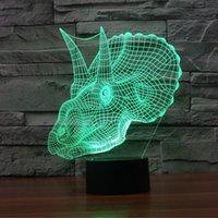 ingrosso sculture uniche-Nuovo arrivo stupefacente Tyrannosaurus Rex Shape Unique Lighting Illuminazione colorata Touch Switch Art Sculpture Decoration Desk Lamp