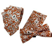Wholesale Cravat Handkerchief Set - Wedding Tie Set Cotton Floral Pocket Square Ties for Men Suit Gravatas Neck Tie Cravat + Handkerchief+ Bow Ties for Groom