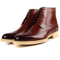 Ankle Boots carving boots - 2016 Top Fashion Spring and Autumn Full For Grain Leather Men s Ankle High Upper New England Carved Short Business Brogue Boots
