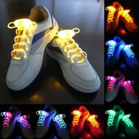 Wholesale Neon Stick Luminous - Led Light up Flash Luminous Shoelace Fashion Glowing Stick Strap Shoe laces Flashing Neon led Party Laces 12 colors 2piece=1pair