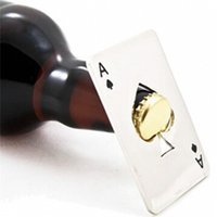 Wholesale Ace Poker - creative hot sale free shipping Stylish Poker Playing Card Ace of Spades Bar Tool Stainless Steel Soda Beer Bottle Cap Opener Gift WA2068