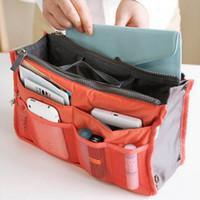 Wholesale Plastic Bag Organiser - Portable Double Zipper Storage Bag Insert Organiser Handbag Women Travel Bag in Bag Organizer For Cosmetics Ipad