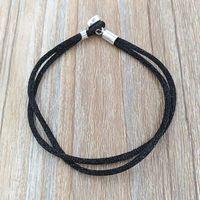Wholesale Jewelry Fabrics - Authentic 925 Silver Fabric Cord Bracelet, Black Fits European Pandora Style Jewelry Charms Beads 590749CBK-S