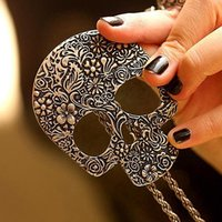 Wholesale Skull Sweater Necklace - Wholesale-Bluelans Women's Vintage Gothic Carved Flowers Skull Pendant Long Sweater Chain Necklace