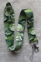 Wholesale Camouflage Lanyards - 20 PCS camouflage Print key lanyards id badge holder keychain straps for mobile phone Free Shipping