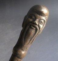 Wholesale chinese statue gods resale online - Rare Chinese Brass Carved statue Dragon Longevity god Shoehorn