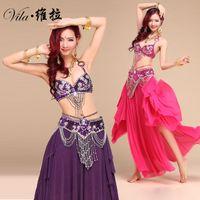 hint dans kıyafeti toptan satış-Yeni Stil Oryantal Dans Kostüm S / M / L 3 adet BraBeltSkirt Seksi Dans kadın dans elbise Set bellydance Hint lady için giymek