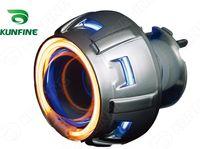 lentes de proyector bi xenon al por mayor-Motocicleta Bi-Xenon HID Proyector Lente Kit faro de motocicleta con ojos de ángel dobles y lámpara de xenón Envío de gota KF-K1040