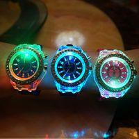 Wholesale Diamond Watch Led - 2017 led Geneva Watches Luxury Silicone Diamond Luminous Wristwatch Colorful Lights Quartz Watches Men and Women flashup backlight watches
