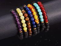 Wholesale 8mm Black Lava Rock - Top Plaza Men Women 8mm Lava Rock Beads Chakra Bracelet Black Healing Energy Stone Gemstone Bracelet