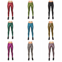 Wholesale stretch crop trousers online - High Waist Women Fish Scale Crop Leggings Pants Shiny Skinny Mermaid Leggings Stretch Printed Trousers OOA3221