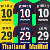 Wholesale Thailand Jerseys - Thailand Maillot de foot MBAPPE NEYMAR JR soccer jerseys 2018 CAVANI DANI ALVES jersey 17 18 football shirt KIT survetement NEYMAR camisetas