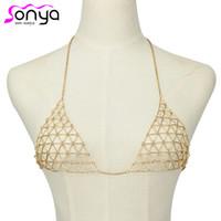 Wholesale Bra Decorations - Wholesale- MWsonya Women Sexy Body Chain Mesh Bikini Bra Chain Breast Decorations 4L1002