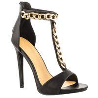 sandálias das mulheres do ouro preto venda por atacado-Kolnoo Womens Moda de Salto Alto T-cinta Sapatos Correntes De Ouro Deco Partido Primavera Verão Sandálias Preto XD290
