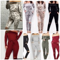 Wholesale Womens Gray Jumpsuits - Fashion Women Clothes 2016 New Rompers Womens Jumpsuit Sexy Off Shoulder Long Sleeve Spring Summer Bodycon Bodysuit Bandage Jumpsuits CK1039